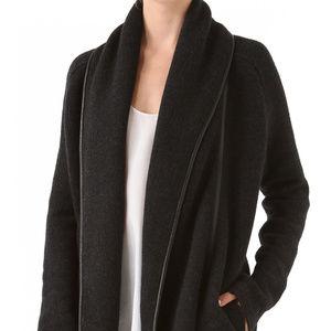 VINCE Leather Trim Car Coat Shawl Sweater Black Sm